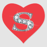 """""""S"""" Diamond Bling on Red Heart Sticker"""