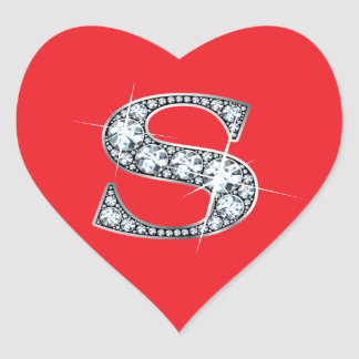 """S"" Diamond Bling on Red Heart Sticker"