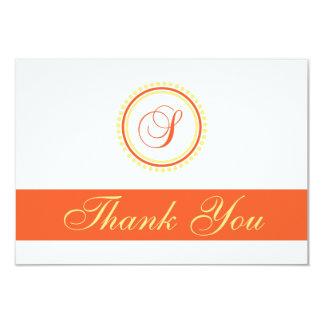 S Dot Circle Monogam Thank You (Orange / Yellow) Card
