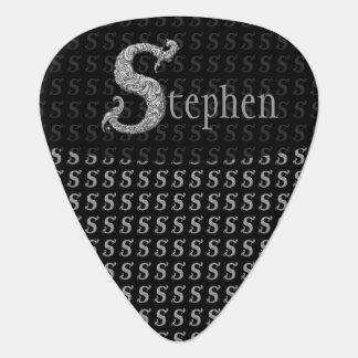 S - El alfabeto de Falck (plateado) Plumilla De Guitarra