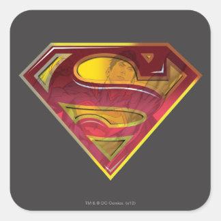 S-Escudo de la reflexión del superhombre Pegatina Cuadrada