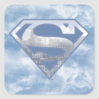 S-Escudo del superhombre Calcomania Cuadradas