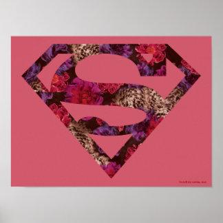 S-Escudo floral rosado Poster