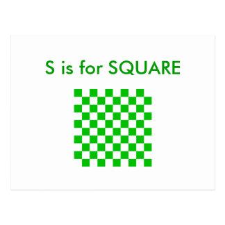"""""""S"""" está para el alfabeto cuadrado Flashcard Tarjetas Postales"""