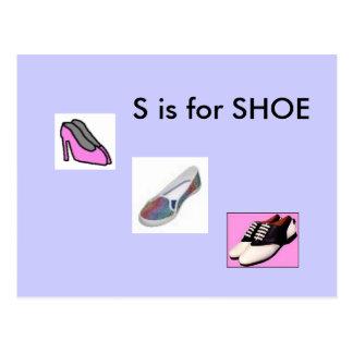 """""""S"""" está para el alfabeto Flashcard del zapato Tarjeta Postal"""