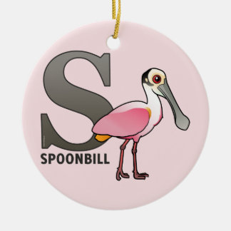 S está para el Spoonbill Ornamento De Navidad