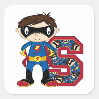 S está para el super héroe calcomanías cuadradas personalizadas