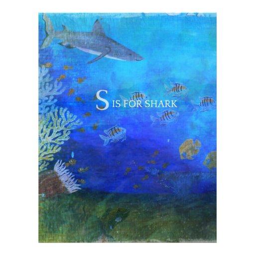 S está para el tiburón - arte para los niños membrete personalizado