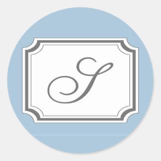 S Fancy Monogram Label / Sticker (Pale Blue)