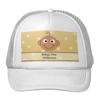 s First Christmas. Dark Skin. On Gold Color. Trucker Hat