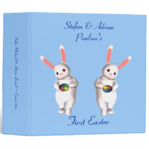 """__'s First Easter"" - Twin Bunnies w/ Four-Colored 3 Ring Binder"