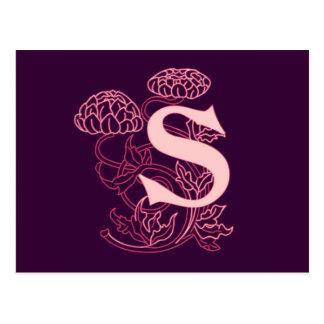 """""""S"""" Floral Art Nouveau Monogram Postcard"""