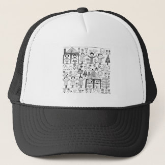 s Folk Art Drawing of and Animals Trucker Hat
