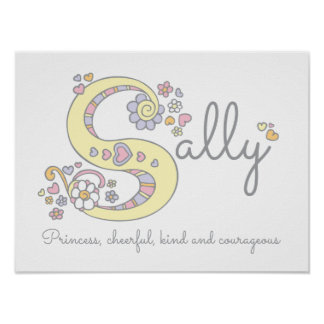 S for Sally monogram letter art name meaning Poster