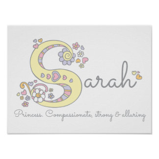 S for Sarah monogram letter art name meaning Poster