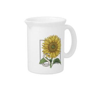 S for Sunflower Floral Alphabet Monogram Pitcher