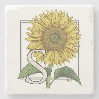 S for Sunflower Flower Monogram Stone Coaster