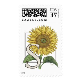 S for Sunflower Monogram Art Postage
