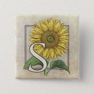 S for Sunflowers Monogram Art Button