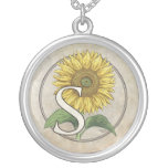 S for Sunflowers Monogram Art Round Pendant Necklace
