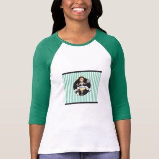 (S) Green Ladies 3/4 Sleeve Ragland (Fitted) T-Shirt