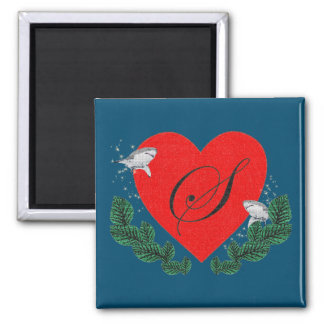 S in a heart 2 inch square magnet