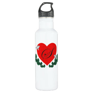 S in a heart stainless steel water bottle