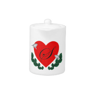 S in a heart teapot