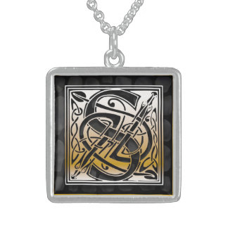 "S Initial Monogram ""Celtic Black Stone"" Necklaces"