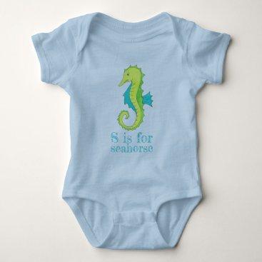 Beach Themed S is for Seahorse Sea Horse Blue Green Beach Ocean Baby Bodysuit
