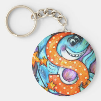 S is for Shark Basic Round Button Keychain