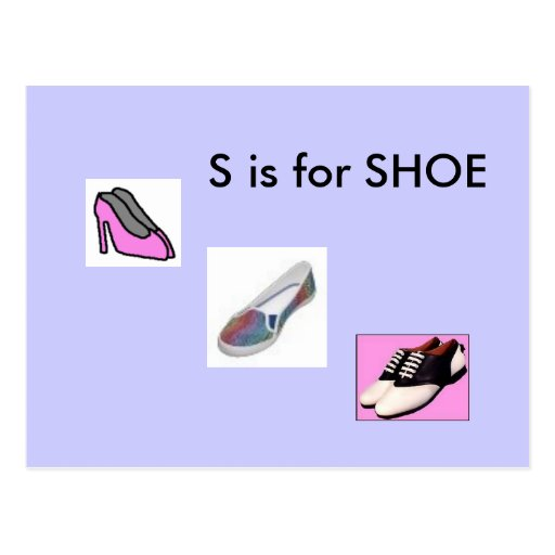 """S"" is for Shoe Alphabet Flashcard Postcard"