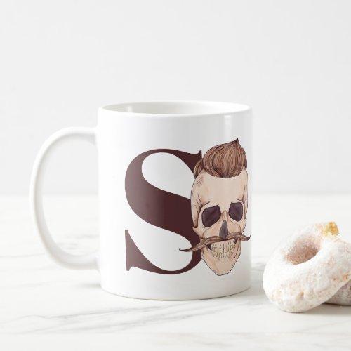 S is for Skeleton  Hipster Skeleton Coffee Mug