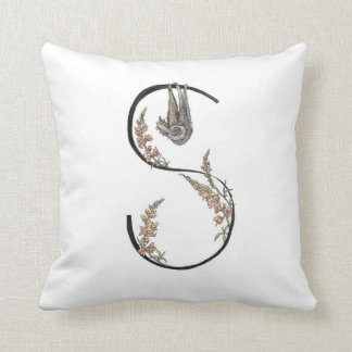 S is for Sloth and Snapdragons pillow! Throw Pillow