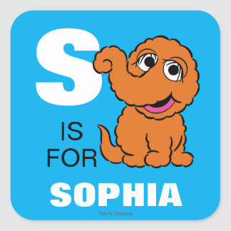 S is for Snuffleupagus | Add Your Name Square Sticker