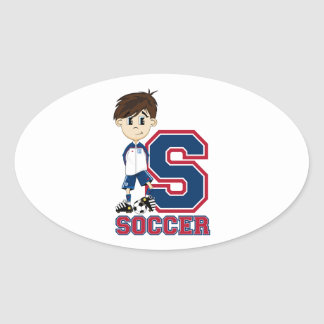 S is for Soccer Oval Sticker