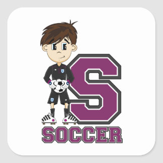 S is for Soccer Square Sticker