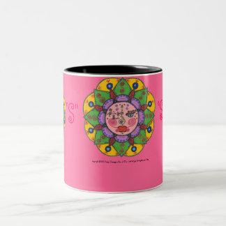 S is for Sun -Black Two Tone mug (dark pink)