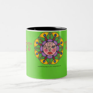 S is for Sun -Black Two Tone mug (green)