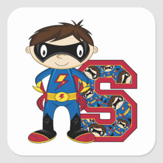 S is for Superhero Square Sticker