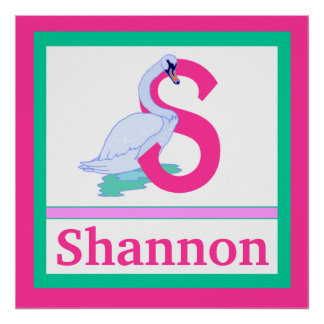 S is for Swan and Girl Name Wall Art for Kids