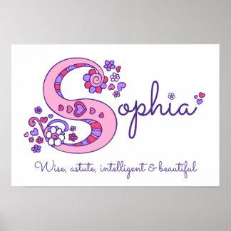 S monogram art Sophia girls name meaning poster