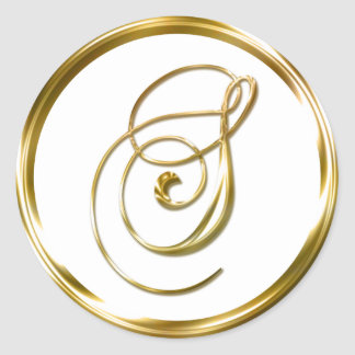 S Monogram Faux Gold Envelope Or Favor Seal Classic Round Sticker