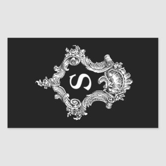 S Monogram Initial Rectangular Sticker