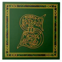"S Monogram ""Irish Gold on Green"" Ceramic Tile"
