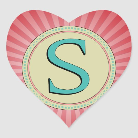 S MONOGRAM LETTER HEART STICKER