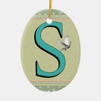 S MONOGRAM LETTER CHRISTMAS TREE ORNAMENT