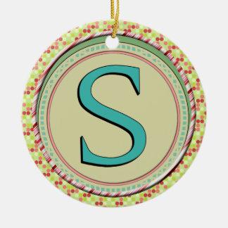 S MONOGRAM LETTER CHRISTMAS TREE ORNAMENTS