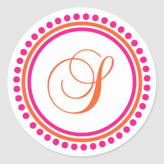 S Monogram (Pink / Orange Dot Circle) Classic Round Sticker