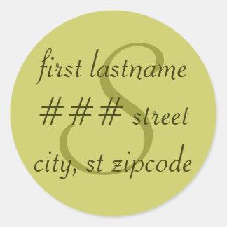 """S"" monogram return address label - personalize Classic Round Sticker"